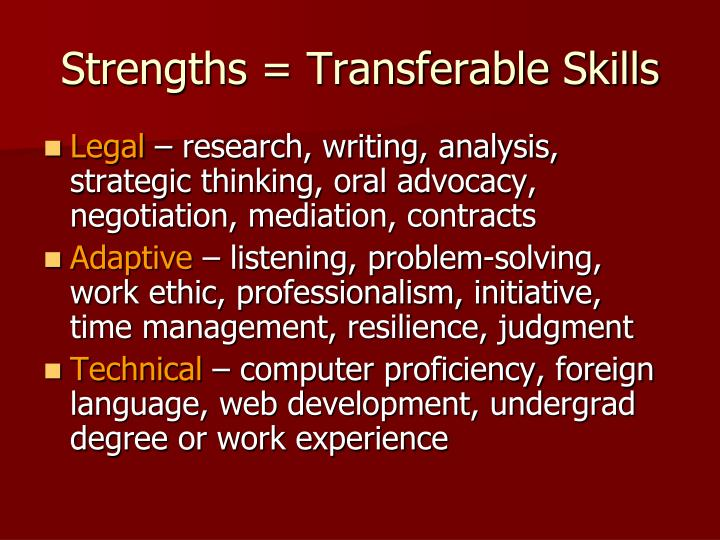 Strengths = Transferable Skills