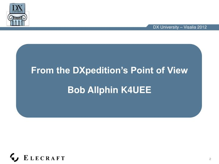 From the DXpedition's Point of View