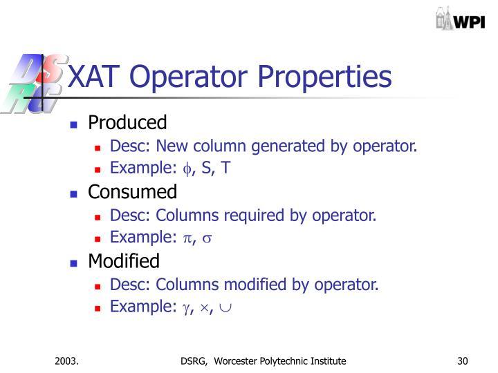 XAT Operator Properties