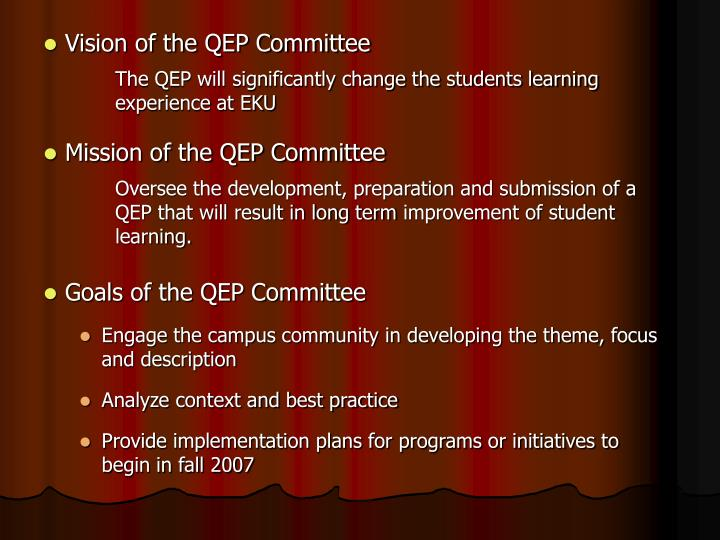 Vision of the QEP Committee