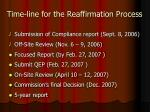 time line for the reaffirmation process