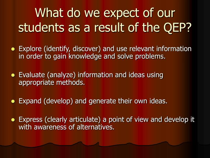 What do we expect of our students as a result of the QEP?