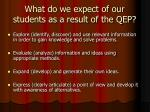 what do we expect of our students as a result of the qep