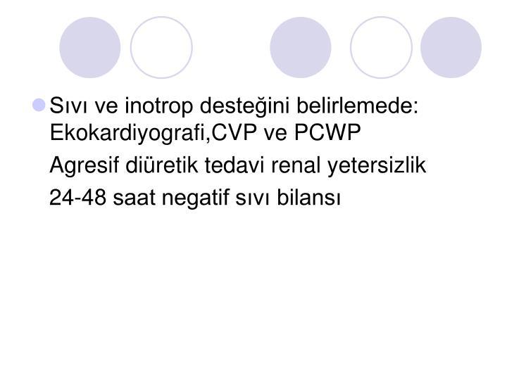 Sıvı ve inotrop desteğini belirlemede: Ekokardiyografi,CVP ve PCWP