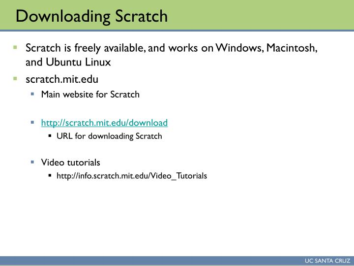 Downloading Scratch
