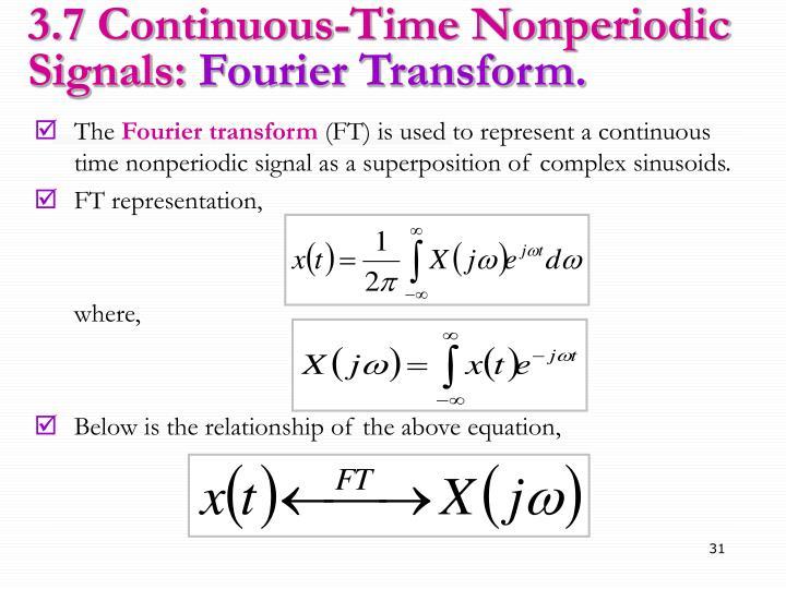 3.7 Continuous-Time Nonperiodic Signals: