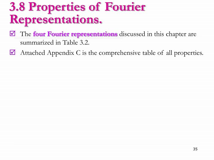 3.8 Properties of Fourier Representations.