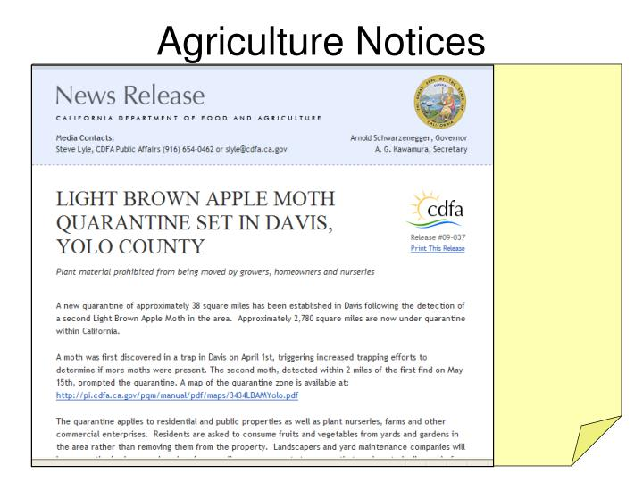 Agriculture Notices