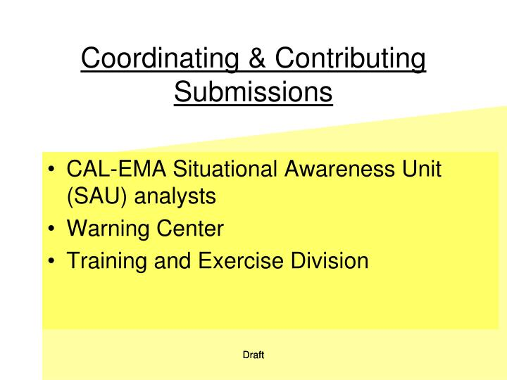 Coordinating & Contributing Submissions