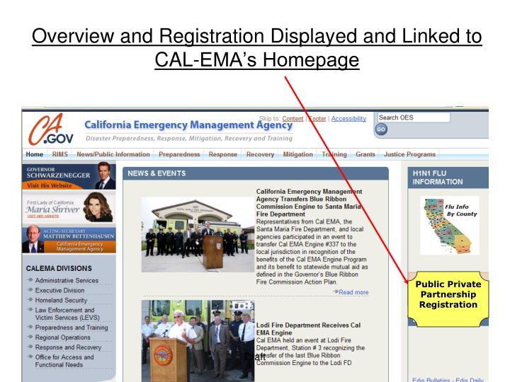 Overview and Registration Displayed and Linked to CAL-EMA's Homepage