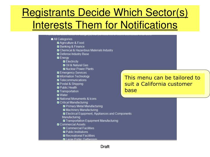 Registrants Decide Which Sector(s) Interests Them for Notifications