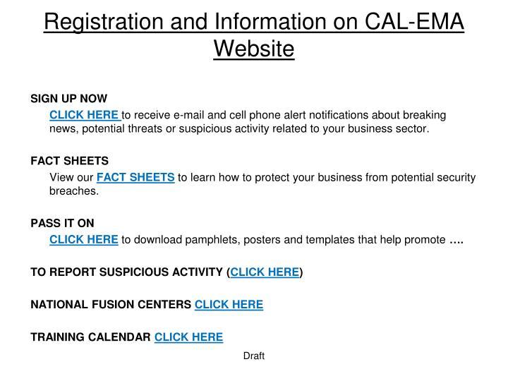 Registration and Information on CAL-EMA Website