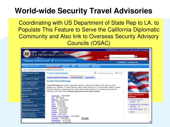 World-wide Security Travel Advisories