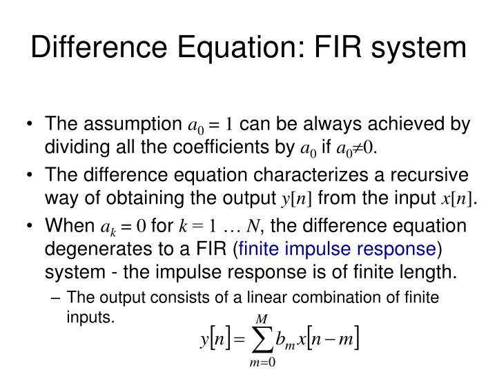 Difference Equation: FIR system