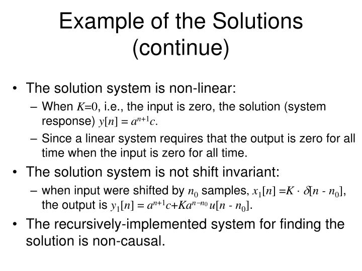 Example of the Solutions (continue)