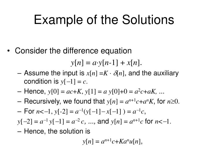 Example of the Solutions