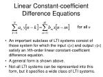 linear constant coefficient difference equations