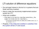 lti solution of difference equations