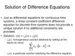 solution of difference equations