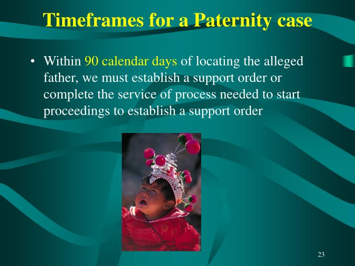 Timeframes for a Paternity case