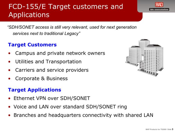 FCD-155/E Target customers and Applications