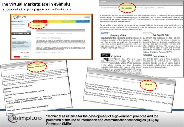 The Virtual Marketplace in eSimplu