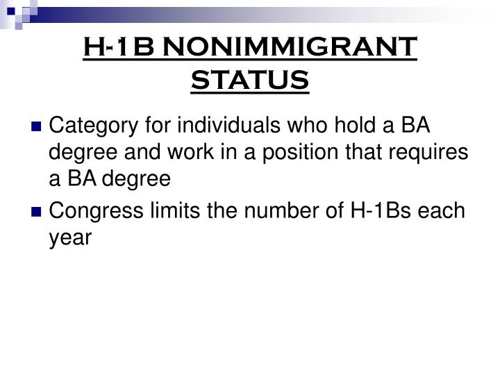 H-1B NONIMMIGRANT STATUS