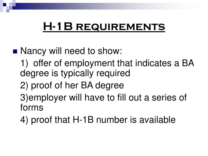 H-1B requirements
