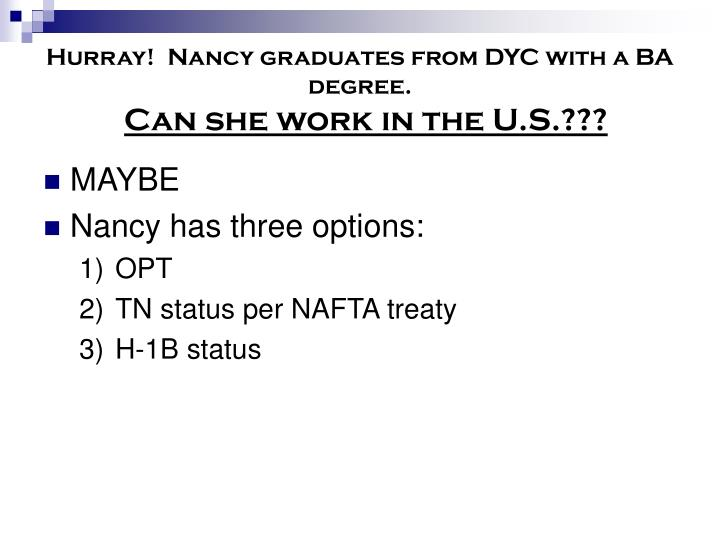 Hurray!  Nancy graduates from DYC with a BA degree.