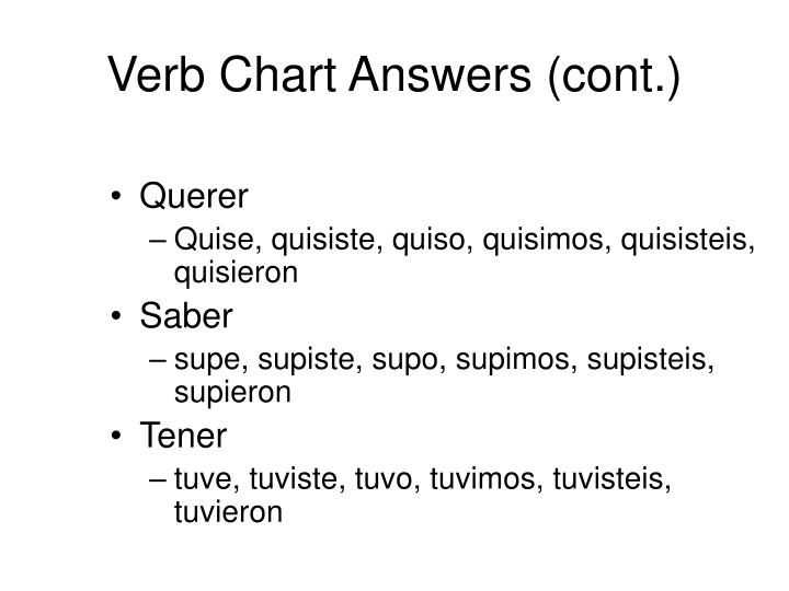 Verb Chart Answers (cont.)