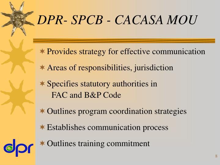 DPR- SPCB - CACASA MOU