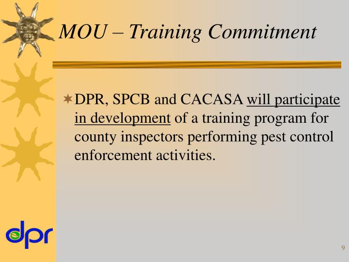 MOU – Training Commitment