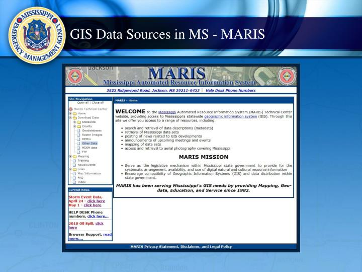 GIS Data Sources in MS - MARIS