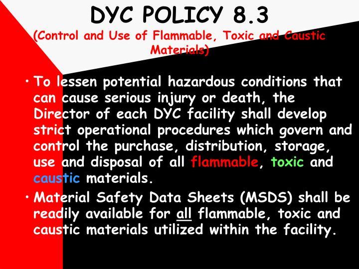 DYC POLICY 8.3