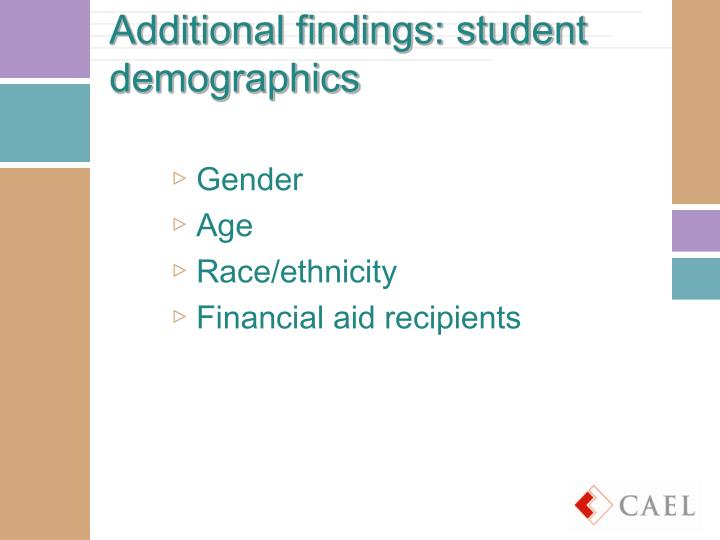 Additional findings: student demographics