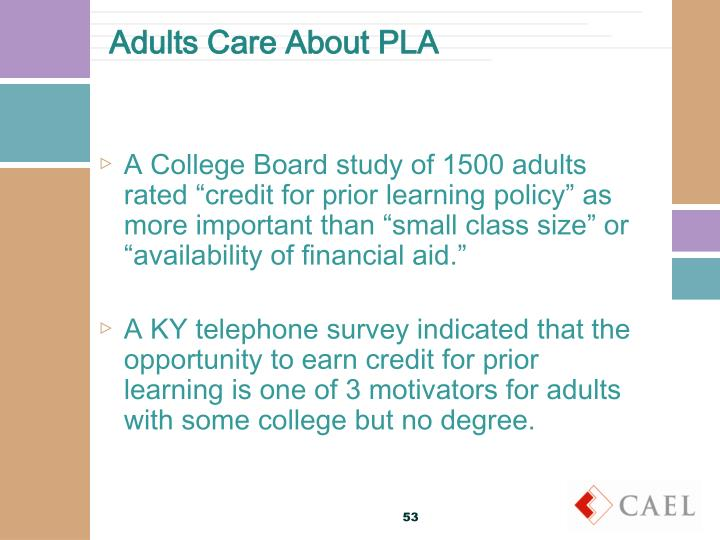 Adults Care About PLA
