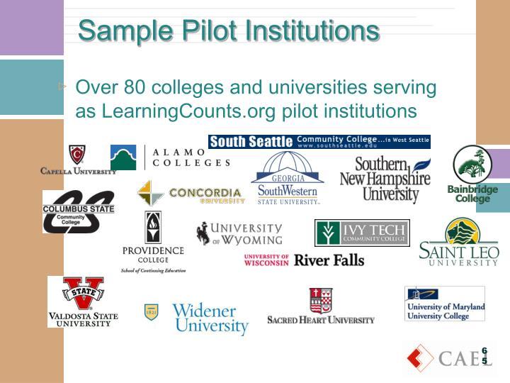 Sample Pilot Institutions
