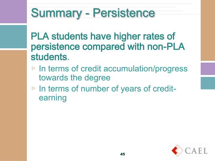 Summary - Persistence