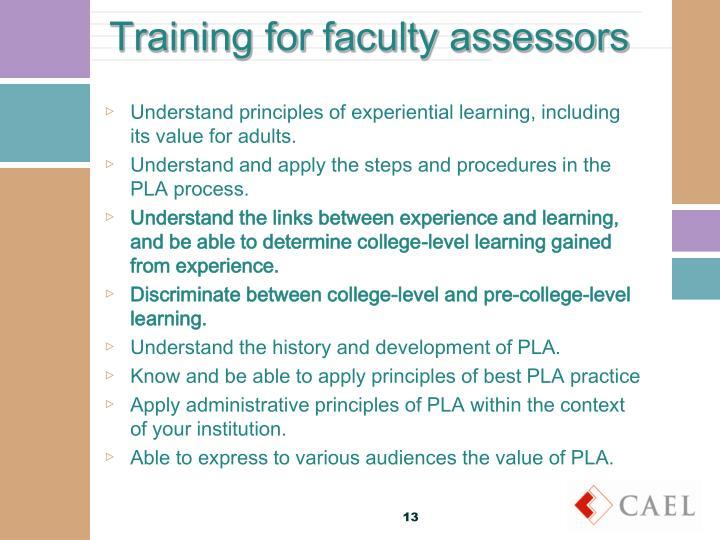 Training for faculty assessors