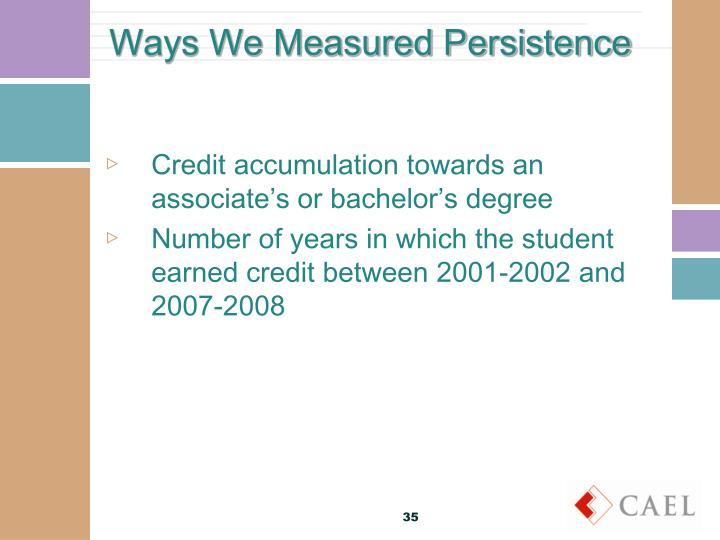 Ways We Measured Persistence