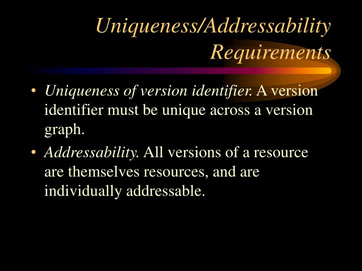 Uniqueness/Addressability Requirements