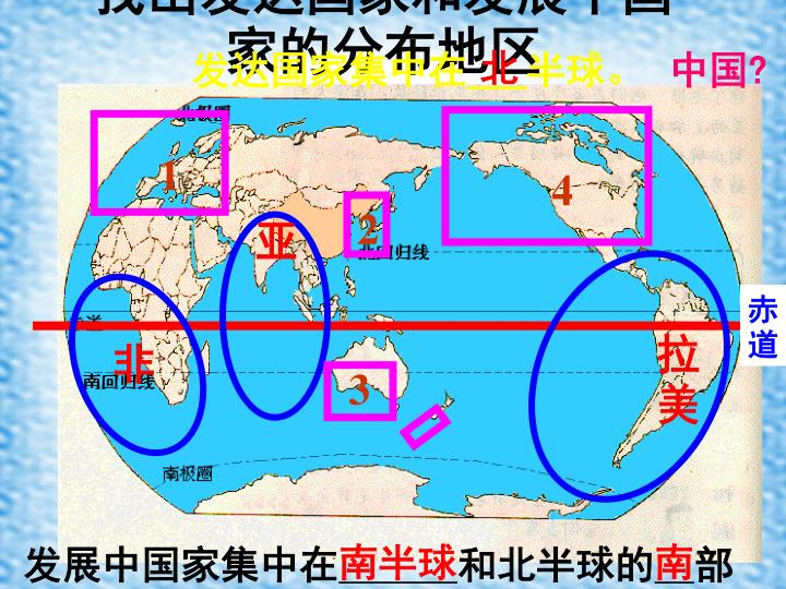 找出发达国家和发展中国家的分布地区