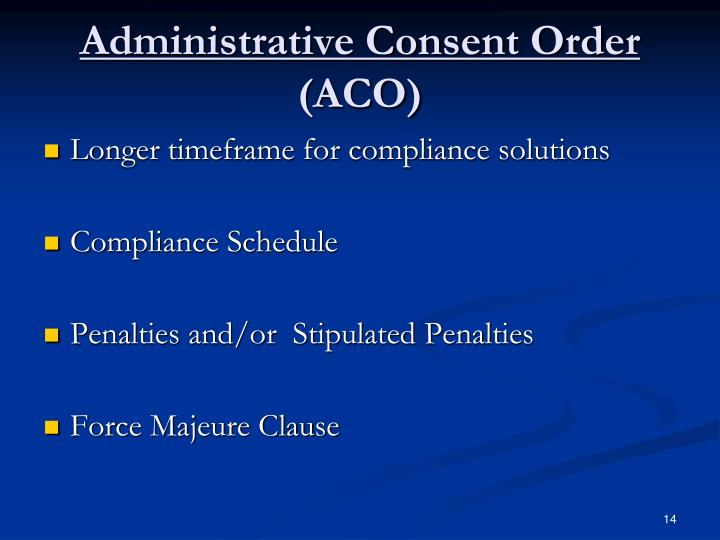 Administrative Consent Order