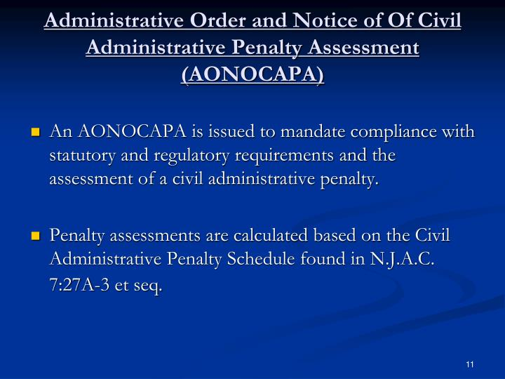 Administrative Order and Notice of Of Civil Administrative Penalty Assessment (AONOCAPA)