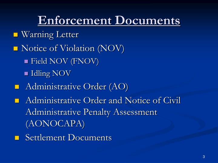 Enforcement Documents