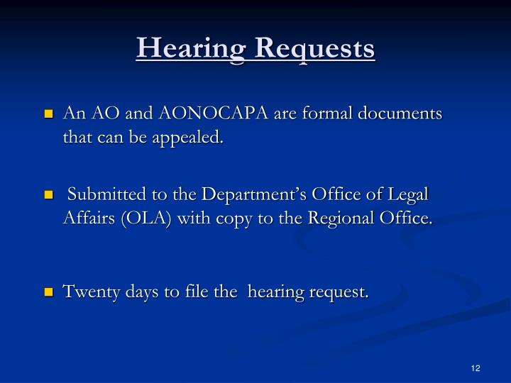 Hearing Requests