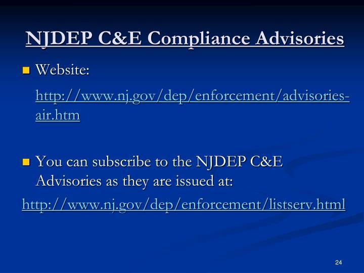 NJDEP C&E Compliance Advisories