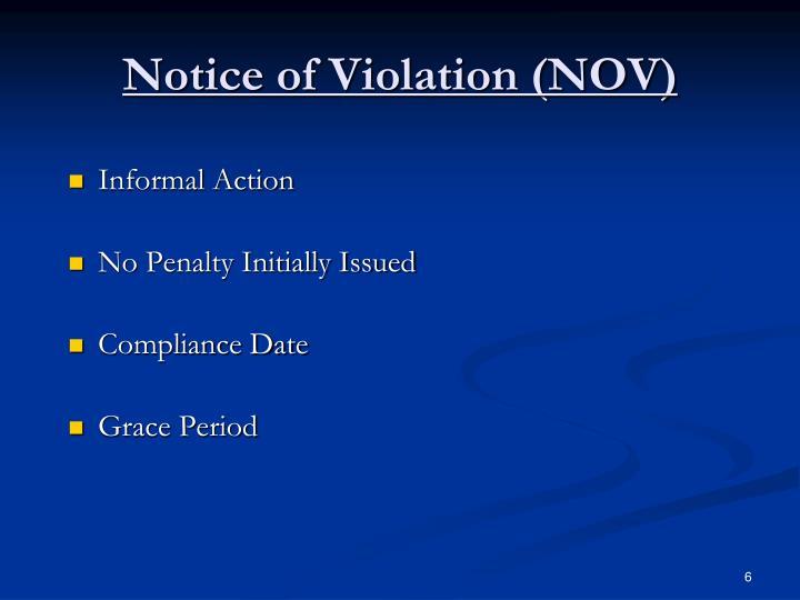 Notice of Violation (NOV)