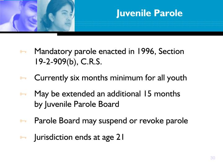 Mandatory parole enacted in 1996, Section 19-2-909(b), C.R.S.