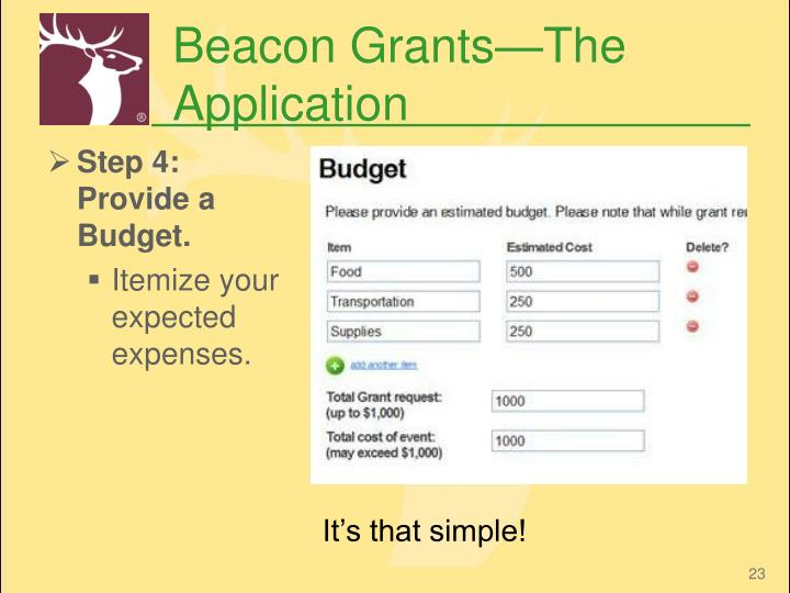 Beacon Grants—The Application